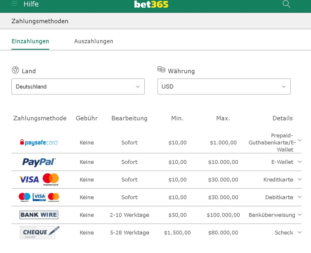 Bet365 payments