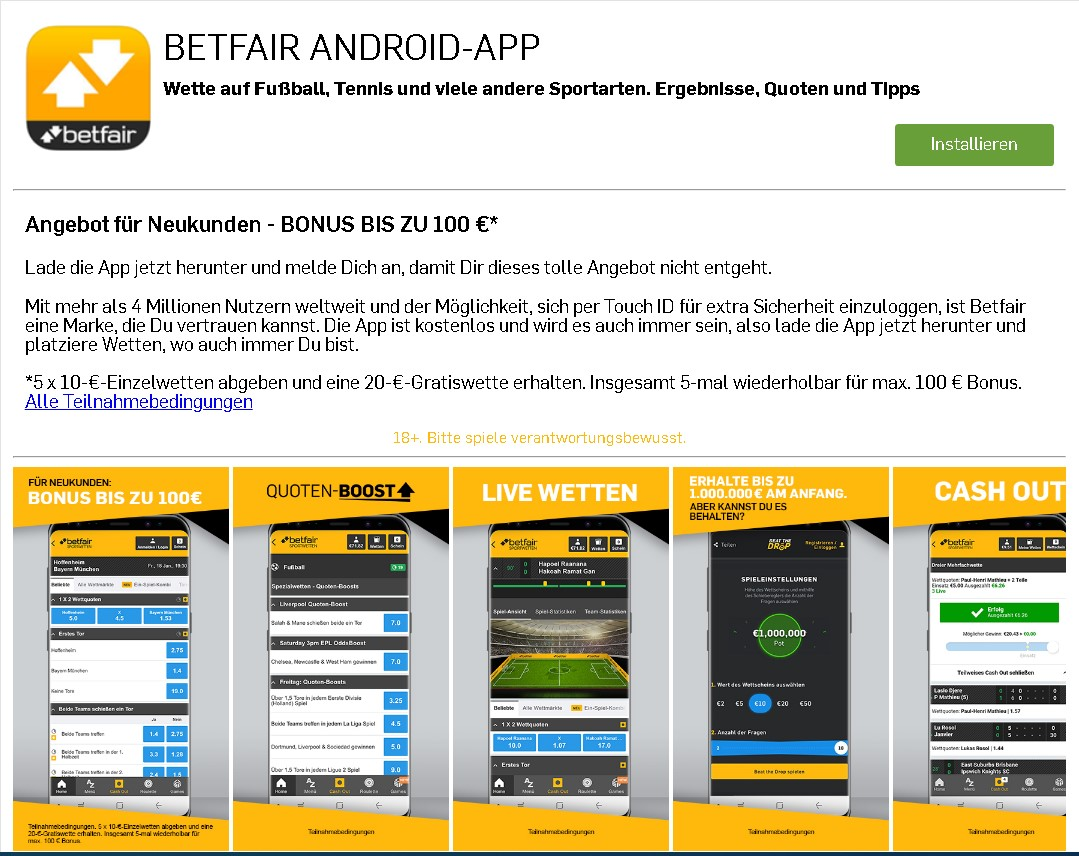 Betfair Android app