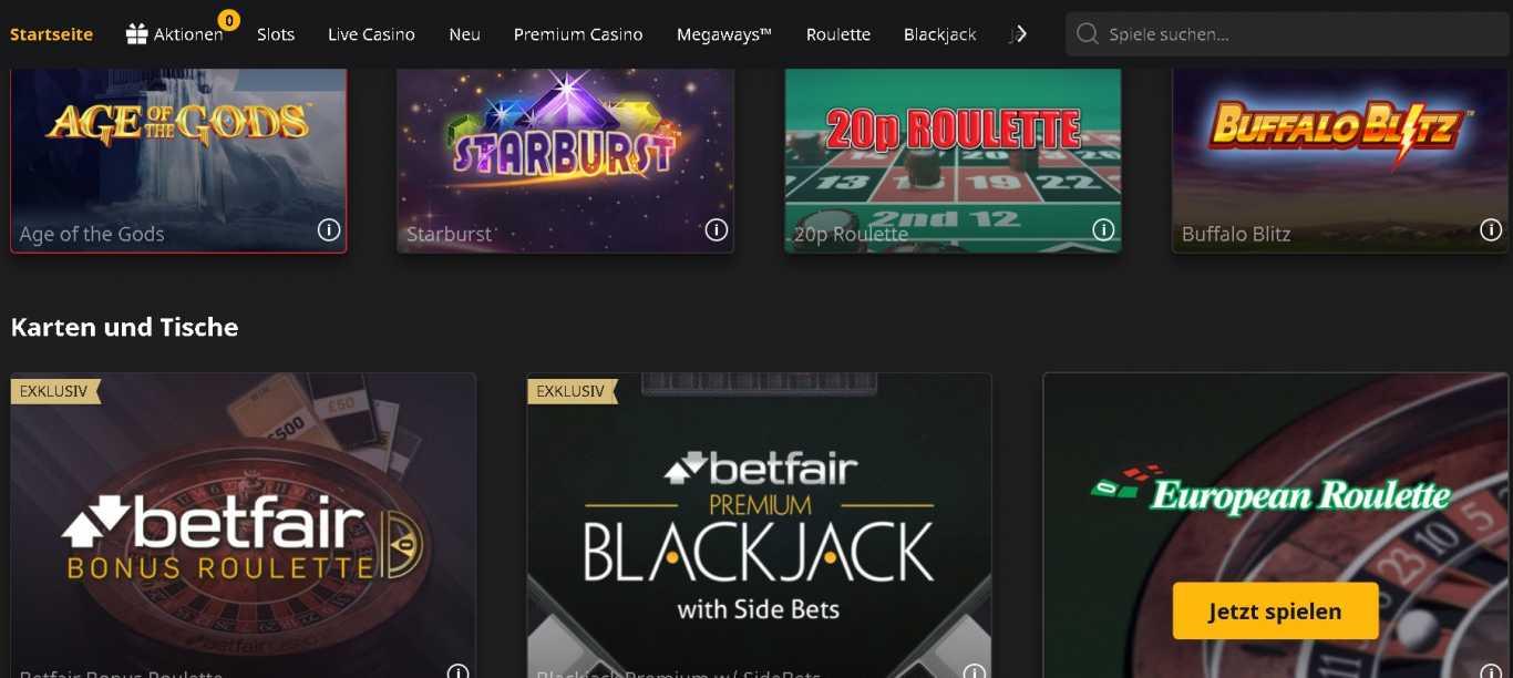 Betfair casino site
